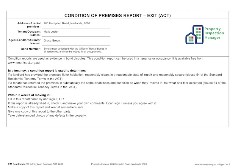 Property inspection manager for Rental property condition report template