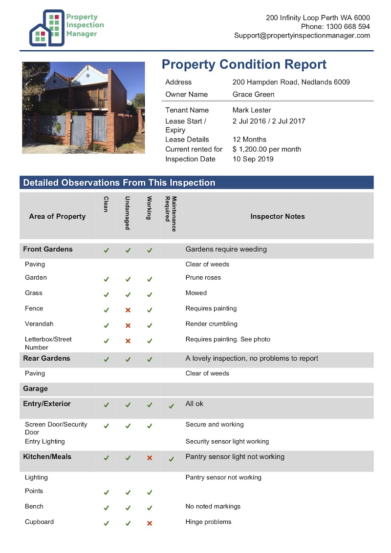rental property condition report template - property inspection manager