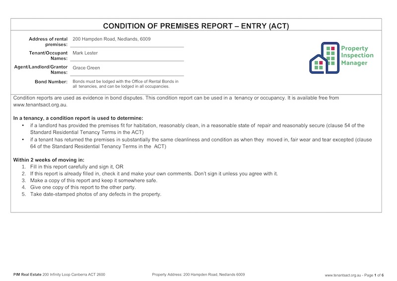 ACT Entry Condition Report