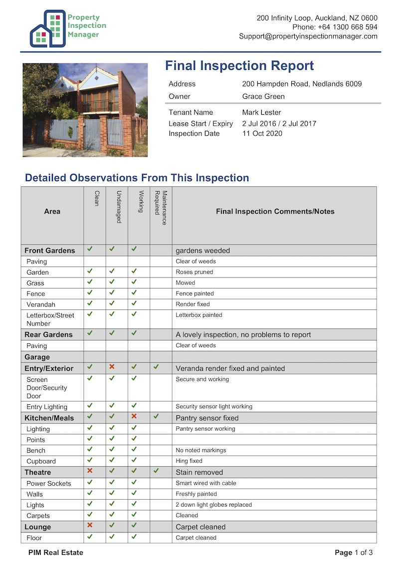 Final Inspection Report - NZ