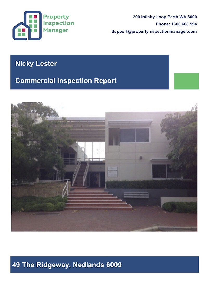 Commercial Inspection Report with Front Cover Page